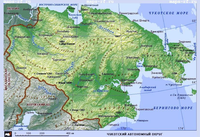 Туристская карта чукотского автономного округа
