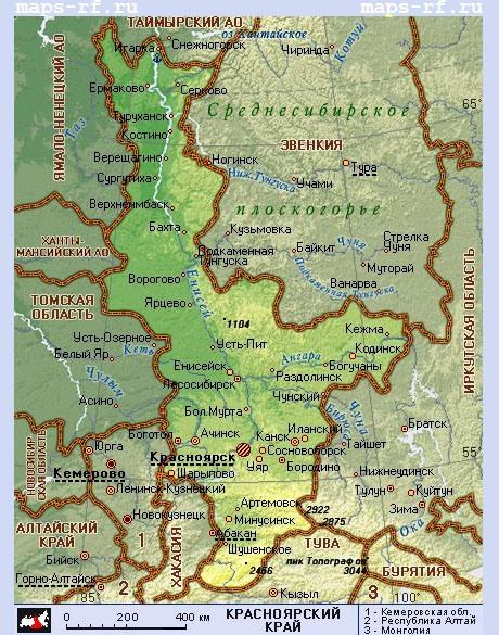 подробная карта красноярского края скачать бесплатно