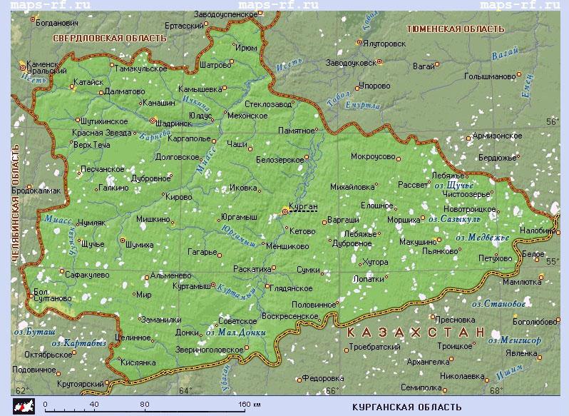 Подробная карта курганской области