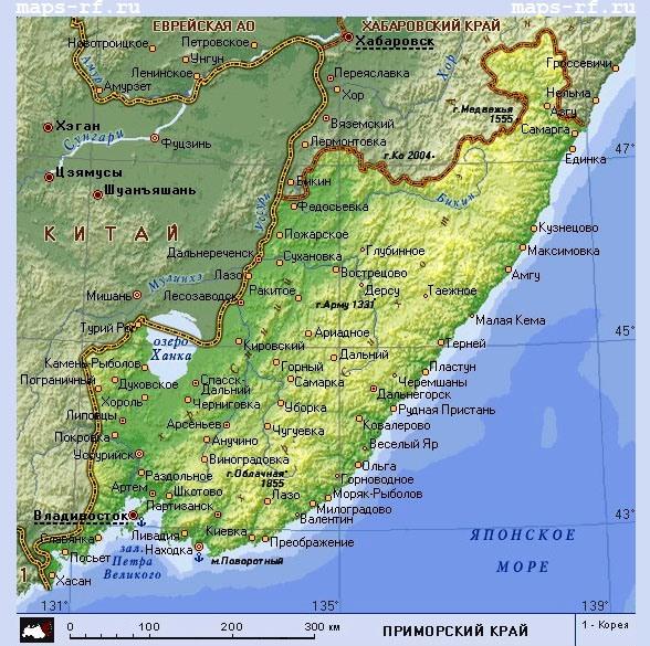 вам карта приморского края поселок южно-морской выжигали склон оврага