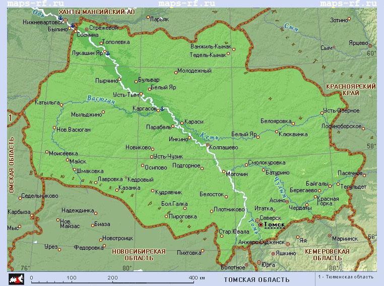 Подробная карта томской области