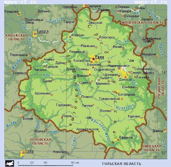 Скачать карта тульской области