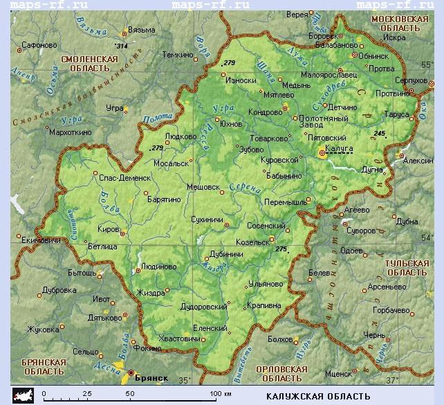Подробная карта Калужской области с районами и деревнями