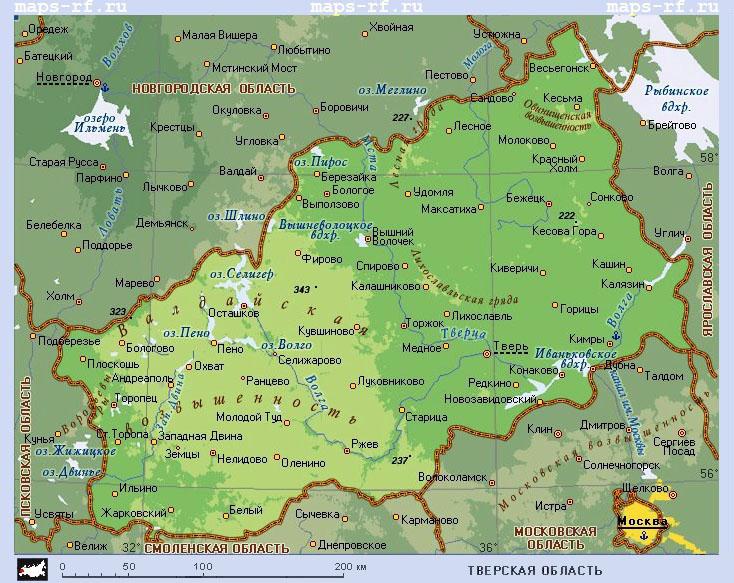 Подробная карта Тверской области по районам